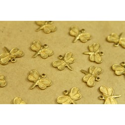 8 pc. Small Raw Brass Detailed Dragonfly Charms: 14mm by 12mm - made in USA | RB-390