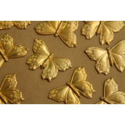 2 pc. Large Raw Brass Butterflies: 38mm by 26mm - made in USA | RB-402