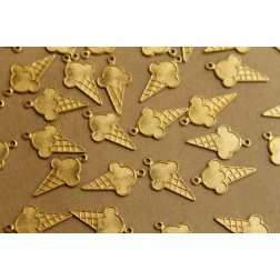 8 pc. Raw Brass Ice Cream Cone Charms: 21mm by 12mm - made in USA | RB-412
