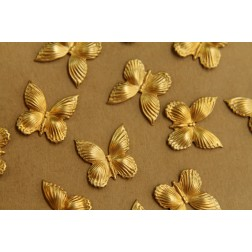 8 pc. Small Raw Brass Butterflies: 17mm by 17mm - made in USA | RB-413