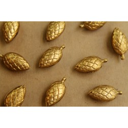 2 pc. Raw Brass 3D Pinecones: 23mm by 11mm by 8mm - made in USA | RB-414