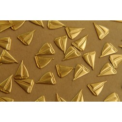 14 pc. Small Raw Brass Sailboat Stampings: 13mm by 10mm - Made in USA | RB-419