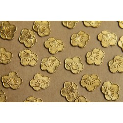 8 pc. Raw Brass Tropical Flowers: 13mm by 10.5mm - Made in USA | RB-424