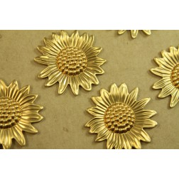 5 pc. Raw Brass Sunflowers: 33mm by 32mm - made in USA | RB-429