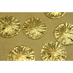 4 pc. Large Raw Brass Sand Dollars: 34mm in diameter - made in USA | RB-431