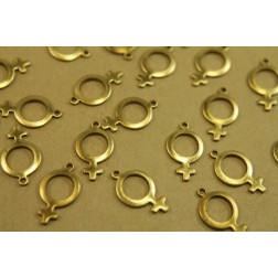 14 pc. Raw Brass Female Symbol Charms: 17mm by 10mm - made in USA | RB-449