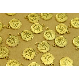8 pc. Raw Brass Love Charms: 14mm by 12mm - made in USA | RB-451