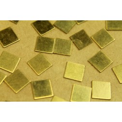 14 pc. Small Raw Brass Squares: 9.5mm by 9.5mm - made in USA | RB-455