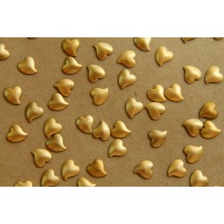18 pc. Tiny Raw Brass Swoopy Puffed Hearts: 6mm by 5.5mm - made in USA | RB-460