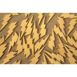 16 pc. Medium Raw Brass Lightning Bolts: 25mm by 7mm - made in USA | RB-479