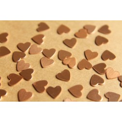 24 pc. Tiny Raw Copper Heart: 7mm by 7mm - made in USA | RB-481
