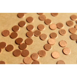 40 pc. Tiny Raw Copper Circles: 5mm diameter - made in USA | RB-489