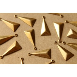 16 pc. Small Raw Brass Faceted Isosceles Triangle Charms : 15mm by 8.5mm - made in USA | RB-490