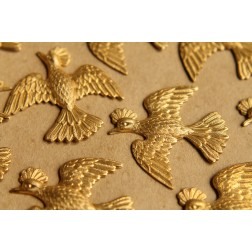 2 pc. Large Raw Brass Flying Pheasants: 35mm by 36mm - made in USA | RB-492