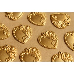 4 pc. Raw Brass Scrolled Heart Charms: 24mm by 28mm - made in USA | RB-494