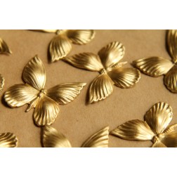 5 pc. Medium Raw Brass Butterflies: 26mm by 26mm - made in USA | RB-498