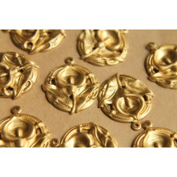 5 pc. Raw Brass Calla Lily Charms: 26mm by 30mm - made in USA | RB-499