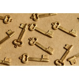 6 pc. Raw Brass Key Charms: 25mm by 9mm - made in USA | RB-500