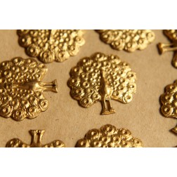 2 pc. Raw Brass Peacock Stampings: 25mm by 25mm - made in USA | RB-501