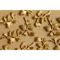 2 pc. Raw Brass Pine Tree Branch Stampings: 25mm by 20mm - made in USA - RB-504
