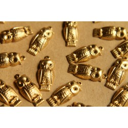 10 pc. Raw Brass Owl Charms: 23mm by 10mm - made in USA | RB-505