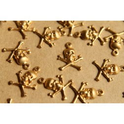 12 pc. Raw Brass Skull and Cross Bones Charms: 14mm by 17mm - made in USA | RB-506