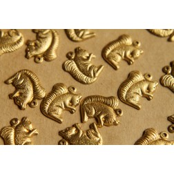 12 pc. Raw Brass Squirrel Charms: 16mm by 13mm - made in USA | RB-508