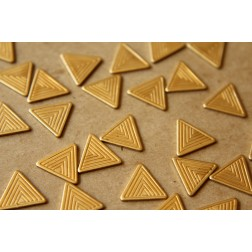 6 pc. Small Raw Brass Patterned Triangles: 12.5mm by 14mm - made in USA | RB-528