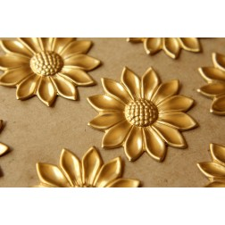 4 pc. Raw Brass Sunflowers: 44mm by 44mm - made in USA | RB-532