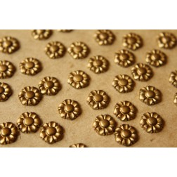 8 pc. Tiny Raw Brass Flowers: 9mm diameter - made in USA | RB-534