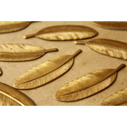 3 pc. Large Raw Brass Feathers: 53mm by 15mm - made in USA | RB-535