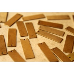 12 pc. Raw Brass Thin Rectangular Drops: 28mm by 8mm - made in USA | RB-536