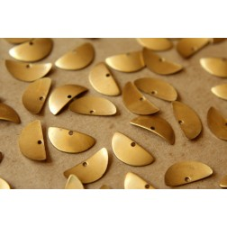 20 pc. Raw Brass Curved Half Circle Charms: 15mm by 7mm  - made in USA | RB-537