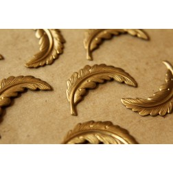 4 pc. Raw Brass Curved Feathers: 33mm by 13mm - made in USA - RB-540