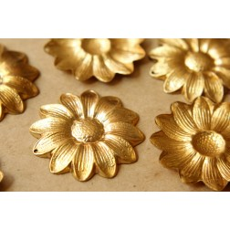 3 pc. Raw Brass Sunflower Charms: 45mm by 45mm - made in USA | RB-543