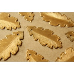 4 pc. Raw Brass Flat Leaf Charms: 25mm by 51mm - made in USA | RB-550