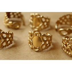 2 pc. Raw Brass Adjustable Filigree Rings | RB-558