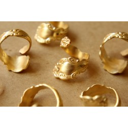 1 pc. Raw Brass Adjustable Spoon Rings | RB-559