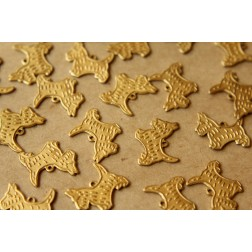 6 pc. Raw Brass Terrier Charms: 16mm by 14mm - made in USA | RB-560