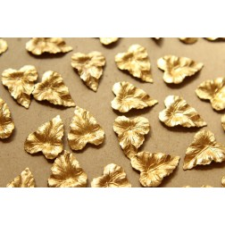 6 pc. Raw Brass Ivy Leaves: 20mm by 15mm - made in USA | RB-566