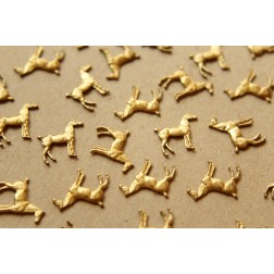 3 pc. Raw Brass Tiny Standing Horse Stampings: 14mm by 13mm - made in USA | RB-581