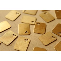 8 pc. Raw Brass Tags with Heart Cutouts: 19mm by 14.5mm - made in USA | RB-583