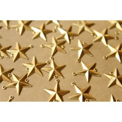 14 pc. Raw Brass Barn Star Connectors: 18mm by 16.5mm - made in USA | RB-587