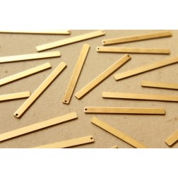 8 pc. Raw Brass Narrow Bars with One Hole: 51mm by 4mm - made in USA | RB-592