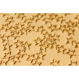 6 pc. Small Raw Brass Star Cutouts: 9mm by 9mm - made in USA | RB-601