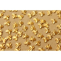 24 pc. Tiny Raw Brass Three Leaf Clovers: 7mm by 6.5mm - made in USA | RB-605