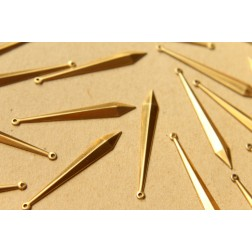8 pc. Raw Brass Narrow Faceted Rhombus Charms: 45.5mm by 6mm - made in USA | RB-614