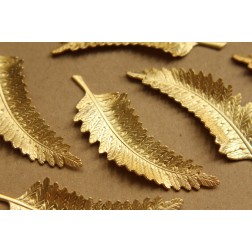 1 pc. Large Raw Brass Fern Leaf: 74mm by 24mm - made in USA | RB-617