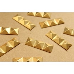 4 pc. Raw Brass Faceted Triple Pyramid Charms : 38mm by 13mm - made in USA | RB-622