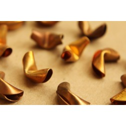 3 pc. Raw Brass Fortune Cookies : 14mm by 8mm by 9mm - made in USA - RB-624